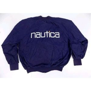 Nautica Nylon Zip Up Spellout Logo Blue Windbreake